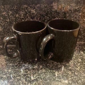 2 Black Ceramic Coffee Mugs
